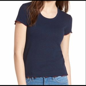 Madewell Baby Tee in Navy and Orange